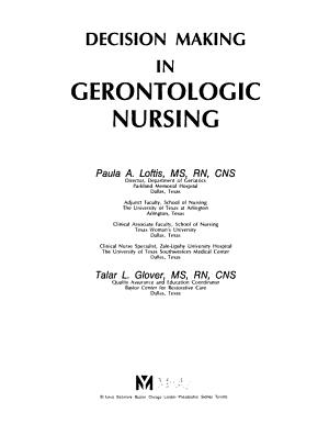 Decision Making in Gerontologic Nursing PDF