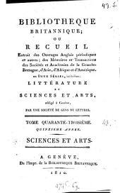 Bibliothèque britannique, ou Recueil extrait des ouvrages anglais périodiques et autres: Volume 43