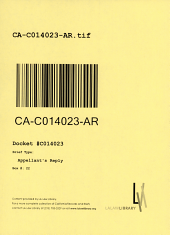 California. Court of Appeal (3rd Appellate District). Records and Briefs: C014023, Appellant's Reply