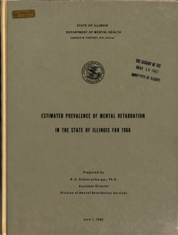 Estimated Prevalence of Mental Retardation in the State of Illinois for 1966 PDF