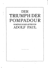 Der Triumph der Pompadour: Komödie in drei Akten