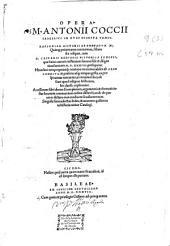 Opera M. Antonii Coccii Sabellici in duos digesta tomos: Rapsodiae historicae Enneadum XI ... cum D. Casparis Hedonis Historica synopsi ...
