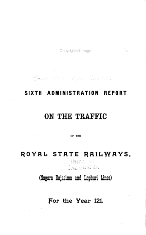 Administration Report on the Traffic of the Royal State Railways in Siam