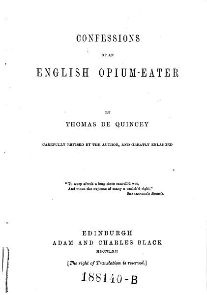 Download Confessions of an English Opium eater Book
