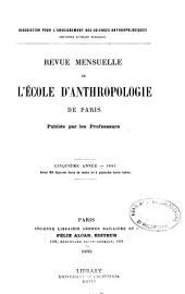 Revue anthropologique: Volume5