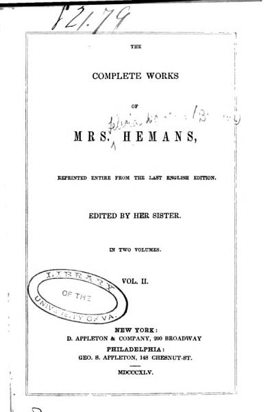 Download The Complete Works of Mrs  Hemans Book