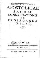 Constitutiones apostolicae sacrae congregationis de Propaganda Fide