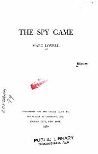 The Spy Game PDF