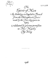 The Spirit of Man: An Anthology in English & French from the Philosophers & Poets