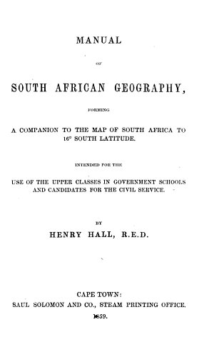 Manual of South African Geography