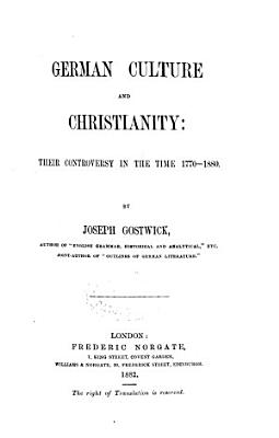 German Culture and Christianity PDF