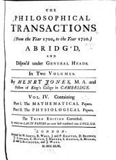 The Philosophical Transactions ... Abridged ...: Volume 4