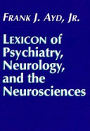 Lexicon of Psychiatry  Neurology  and the Neurosciences PDF