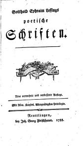 Gotthold Ephraim Lessings Poetische Schriften