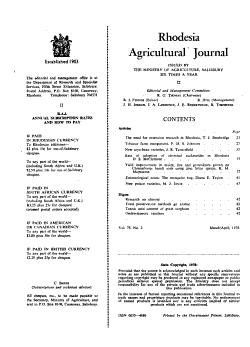 Rhodesia Agricultural Journal PDF