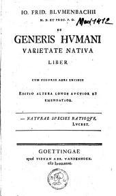 De generis humani varietate nativa liber: cum figuris aeri incisis