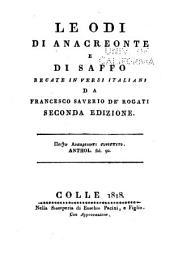 Le odi di Anacreonte e di Saffo