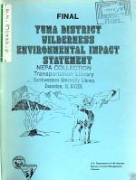 Yuma District Wilderness Study Areas, Wilderness Designation and Proposed Program (AZ,CA)