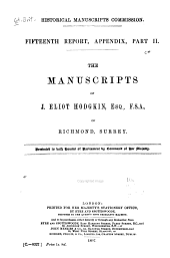 The Manuscripts of J. Eliot Hodgkin, Esq., F. S. A. of Richmond, Surrey: Volume 15, Part 2