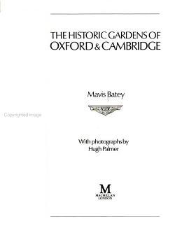 The Historic Gardens of Oxford   Cambridge PDF