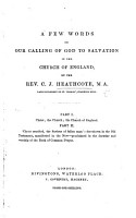 A few words on our calling of God to salvation in the Church of England   Three sermon   PDF