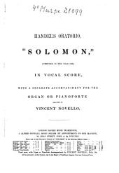 Handel's Oratorio Solomon: Issue 1