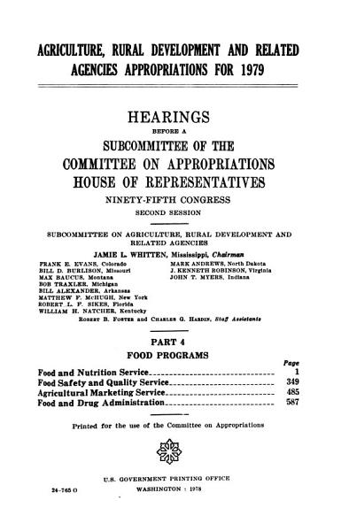 Download Agriculture  Rural Development  and Related Agencies Appropriations for 1979 Book