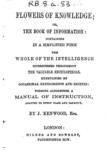 Flowers of Knowledge  Or  the Book of Information PDF