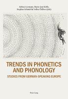 TRENDS IN PHONETICS AND PHONOLOGY  STUDIES FROM GERMAN SPEAKING EUROPE PDF
