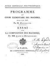 Essai sur la composition des machines
