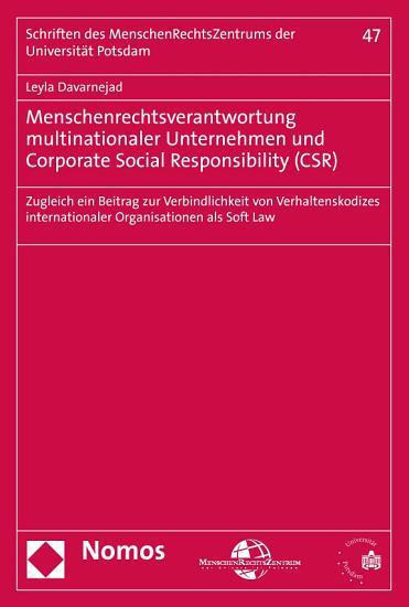 Menschenrechtsverantwortung multinationaler Unternehmen und Corporate Social Responsibility  CSR  PDF