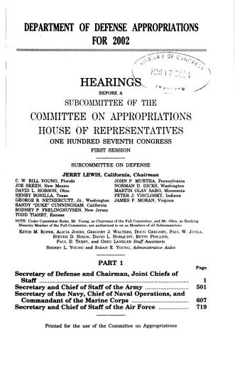 Department of Defense Appropriations for 2002  Secretary of Defense and Chairman  Joint Chiefs of Staff PDF