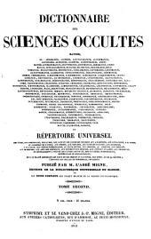 Dictionnaire des Sciences Occultes (etc.): 48-49 : Dictionnaire des Sciences Occultes ; 1-2