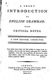 A Short Introduction to English Grammar with Critical Notes