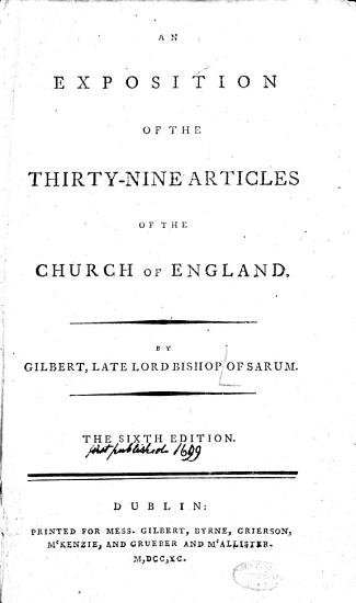 An Exposition of the Thirty nine Articles of the Church of England PDF