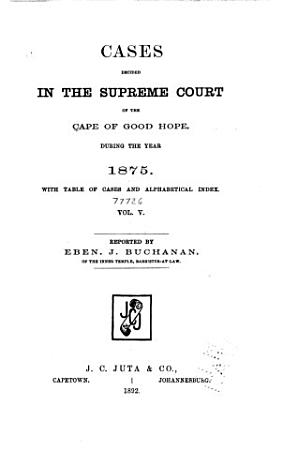 Cases Decided in the Supreme Court of the Cape of Good Hope PDF