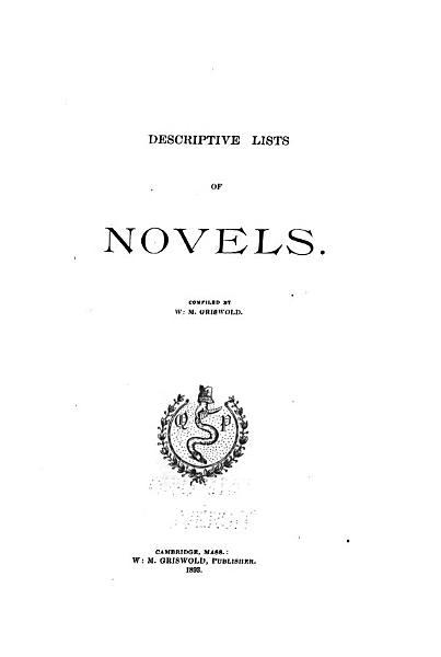 Download A Descriptive List of Novels Book