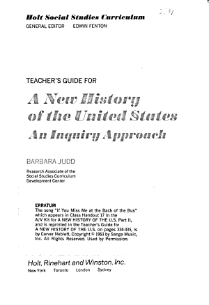 Holt Social Studies Curriculum  pt  2  A new history of the United States PDF