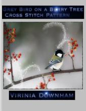 Grey Bird on a Berry Tree Cross Stitch Pattern