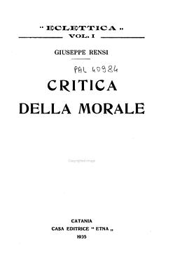 Critica della morale PDF