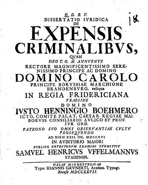 Diss  iur  de expensis criminalibus