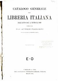 Catalogo generale della libreria italiana dall anno 1847 a tutto il 1899 PDF