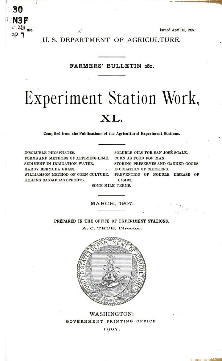 Experiment Station Work, XL