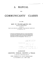 A Manual For Communicants Classes Book PDF