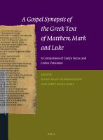 A Gospel Synopsis of the Greek Text of Matthew  Mark and Luke PDF