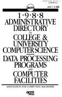 ACM     Administrative Directory of College and University Computer Science data Processing Programs and Computer Facilities PDF