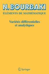 Variétés différentielles et analytiques: Fascicule de résultats