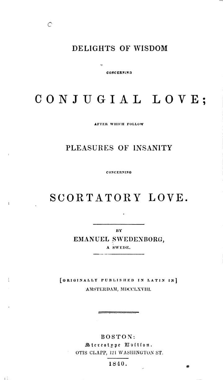 Delights of Wisdom Concerning Conjugial Love