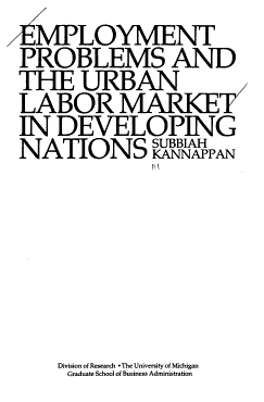 Employment Problems and the Urban Labor Market in Developing Nations PDF