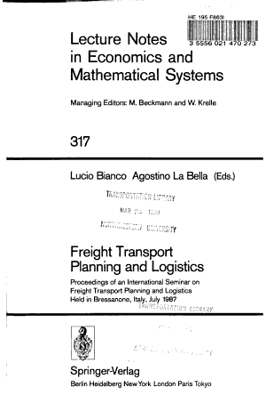 Freight Transport Planning and Logistics